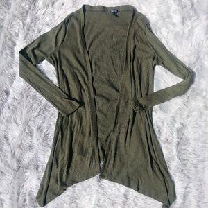 Olive Green Asymmetrical Cardigan